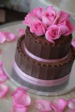 Vow Renewal Chocolate Mocha Cake With Pink Roses