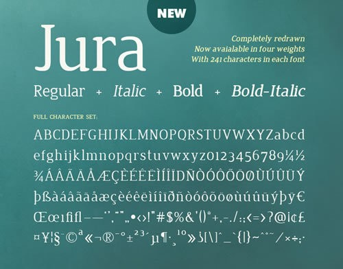 Jura - free font perfect for contemporary vow renewal invitations