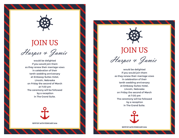 Invitation - Classic Nautical Vow Renewal Invitation