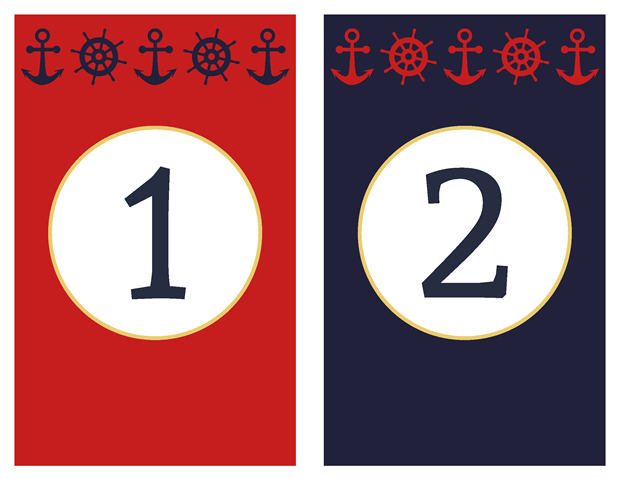 Table Numbers - Classic Nautical Vow Renewal Invitation