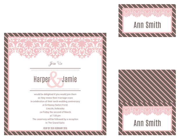 square invitation - table cards - escort cards