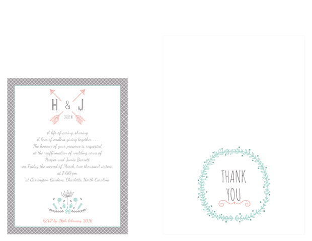 Small invitation and thank you note - Simply Sweet Vow Renewal Invitation Suite