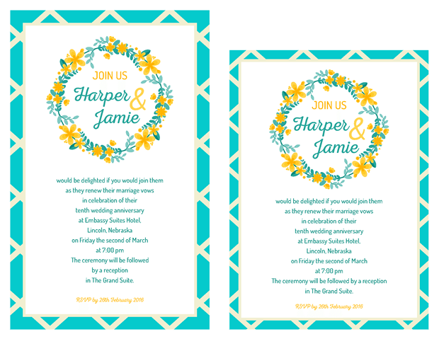 Invitations - Garden Party Vow Renewal Invitation - Teal and Yellow
