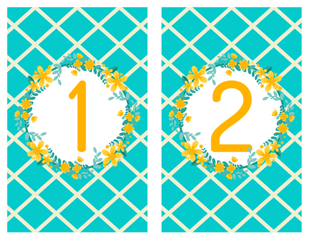 Table Numbers - Garden Party Vow Renewal Invitation - Teal and Yellow