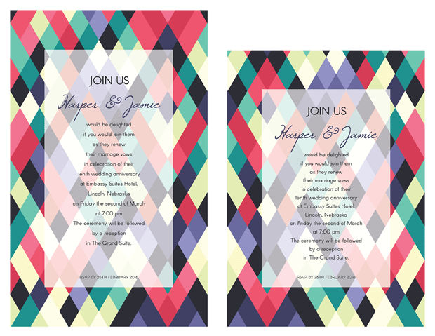 Invitation - Abstract Colorful Geometeric Vow Renewal Invitation Suite