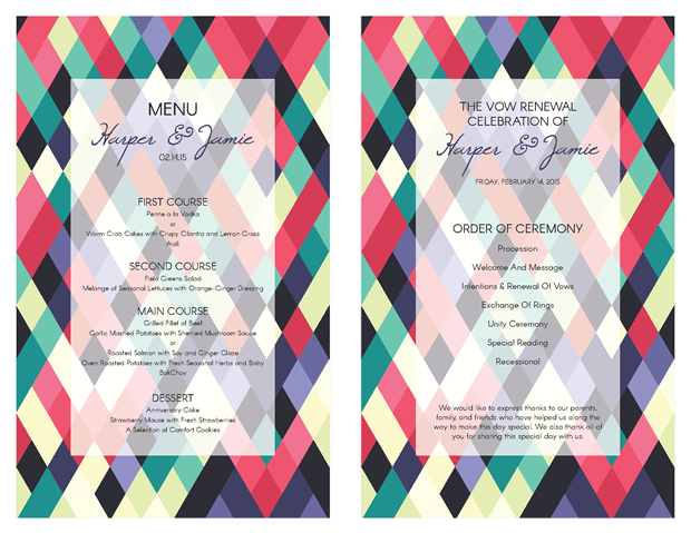 Ceremony Program and Menu - Abstract Colorful Geometeric Design