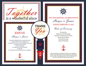 Classic Nautical Vow Renewal Invitation