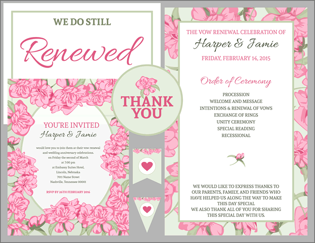 Free Vow Renewal Invitation Suite Pink Roses with Green