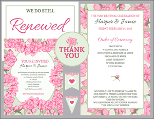 Vow Renewal Invitation Suite Pink Roses With Green Accents