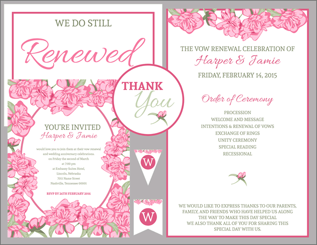 fav pink roses vow renewal invitation s