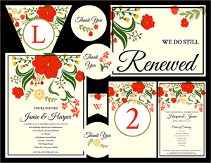 Wild Flowers Vow Renewal Invitation Suite
