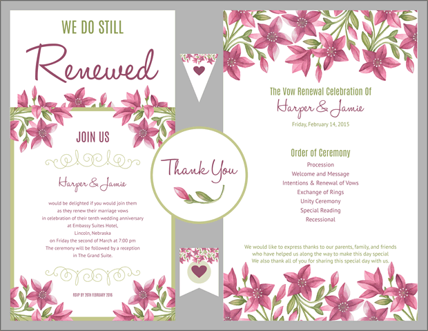 Free vow renewal invitation suite purple floral i do for Free printable wedding vow renewal invitations