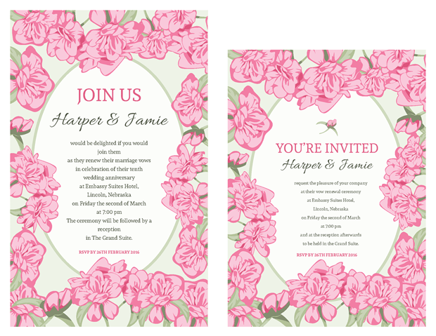 Pink Rose with Green Accents Vow Renewal Invitations