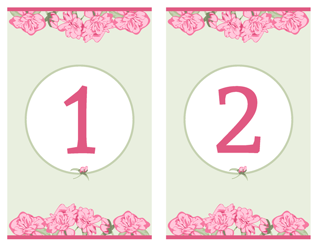 Table Numbers - Pink Rose with Green Accents Vow Renewal Invitation Suite