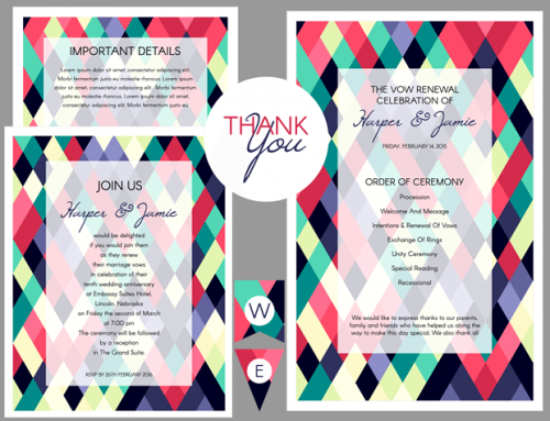 Abstract Colorful Geometric Vow Renewal Invitation
