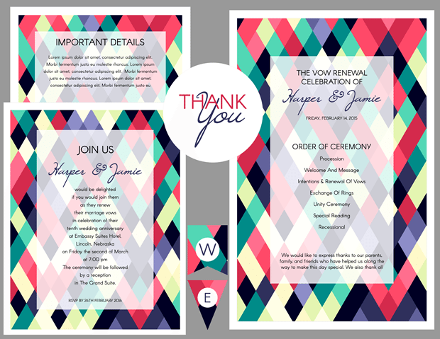 Preview of Abstract Colorful Geometeric Vow Renewal Invitation Suite
