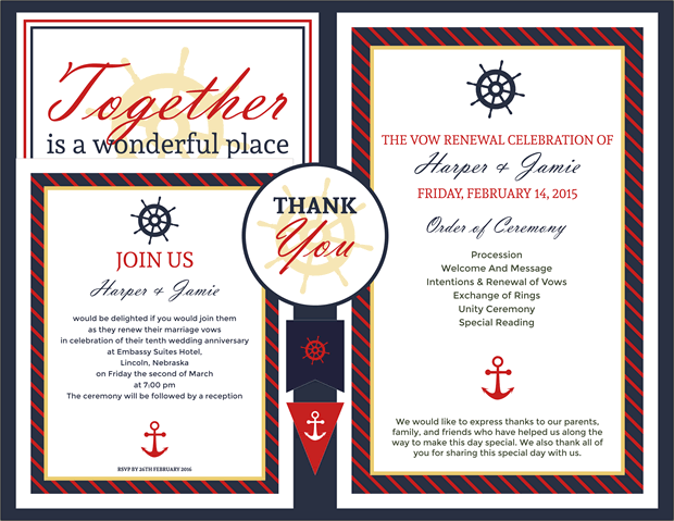 Free Vow Renewal Invitation Suite Classic Nautical Theme