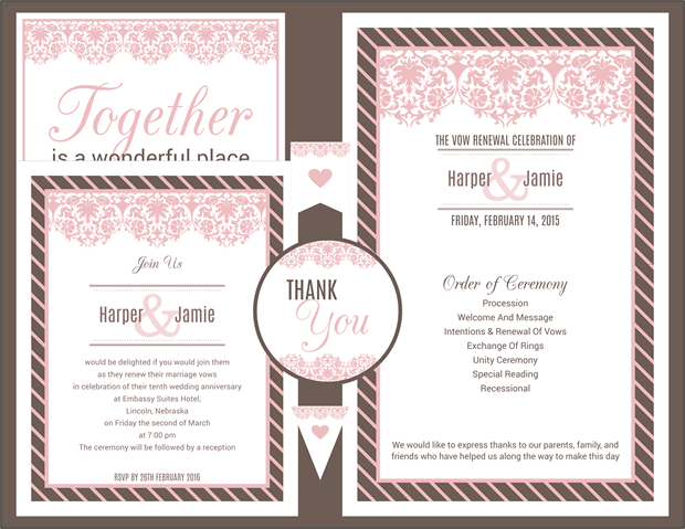 Pink and Brown Lace Vow Renewal Invitation