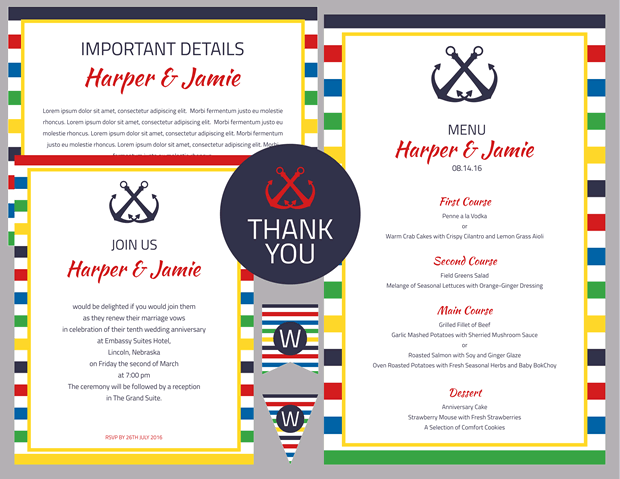 Primary Stripes Nautical Vow Renewal Invitation