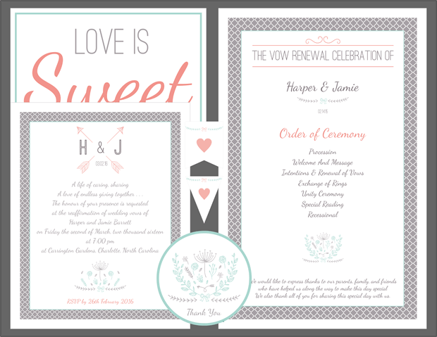 Simply Sweet Vow Renewal Invitation Suite