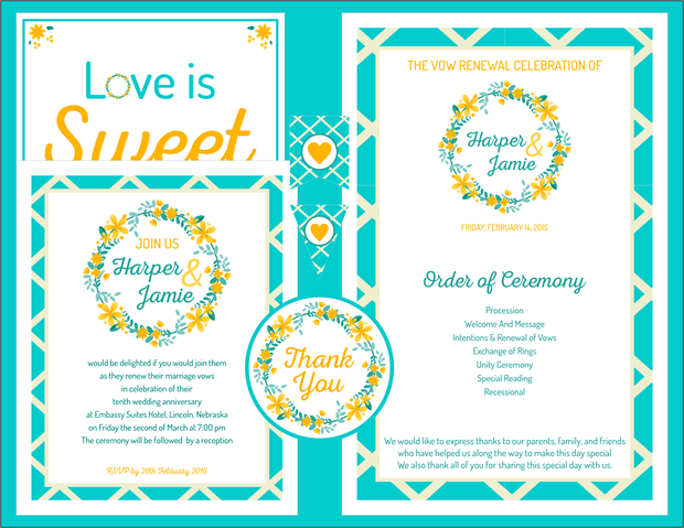 Garden Party Vow Renewal Invitation - Teal and Yellow