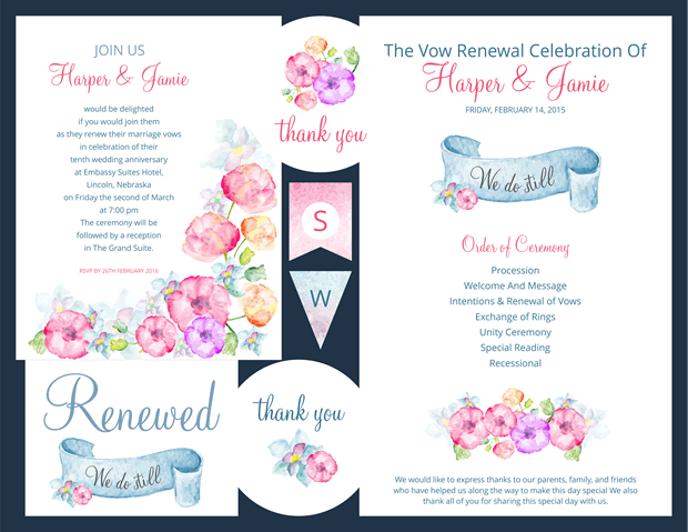 Preview of Watercolor Flowers Vow Renewal Invitation Suite