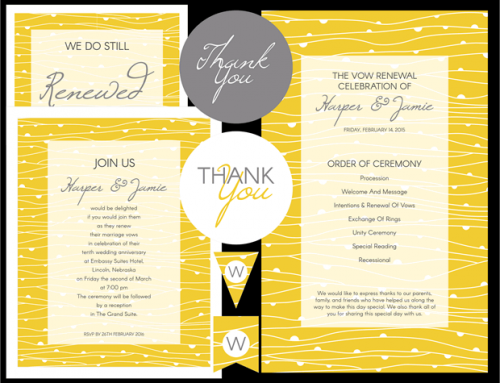 Yellow Waves Vow Renewal Invitation