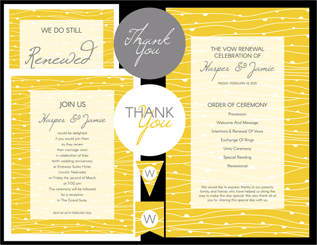 50th Wedding Vow Renewal Invitations: Yellow Waves And Gray Theme
