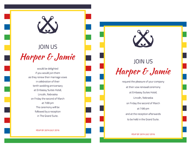 Invitations - Primary Stripes Nautical Vow Renewal Theme