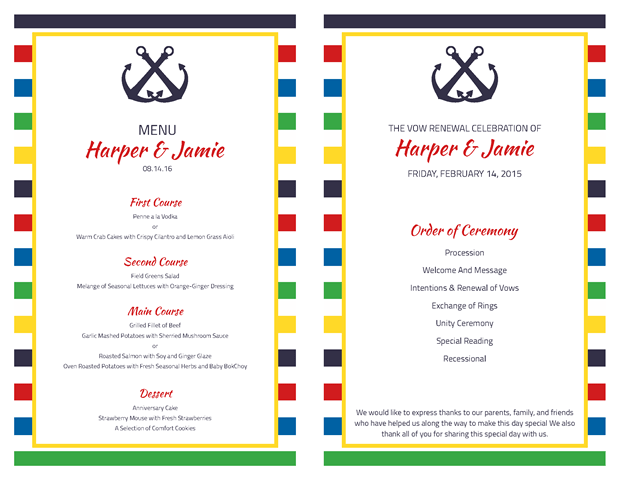 Ceremony Program and Menu
