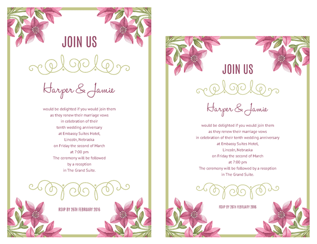 Purple Floral Design Vow Renewal Invitations