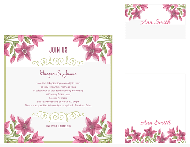 square invitation - table cards - escort cards