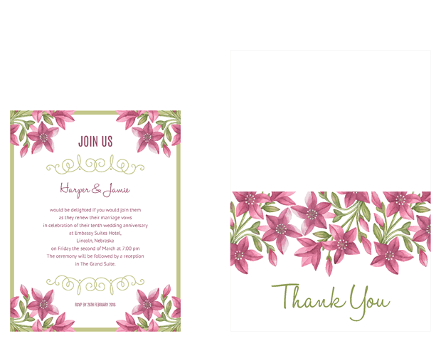 Small invitation and thank you note