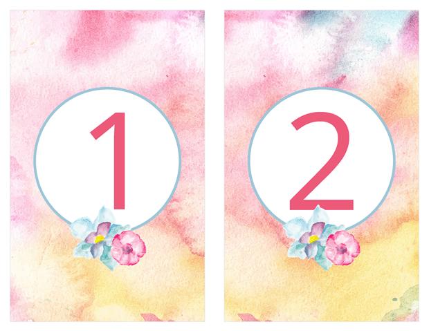 Table Numbers - Pastel Watercolors
