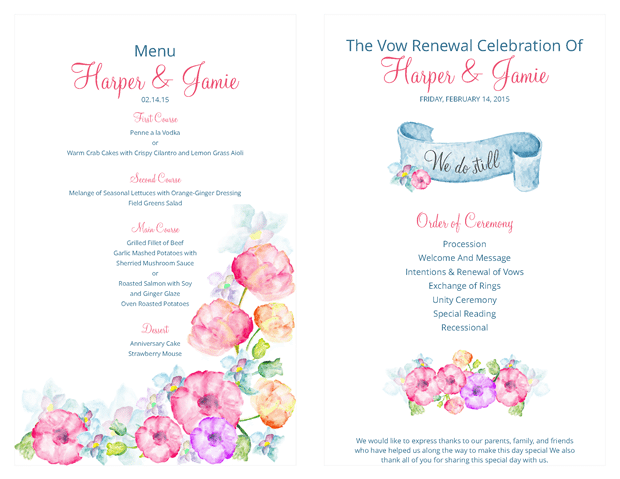 Ceremony Program and Menu - Watercolor Flowers Vow Renewal Invitation Suite
