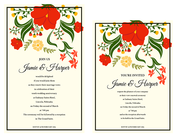 Invitation - Wild Flowers Vow Renewal Theme