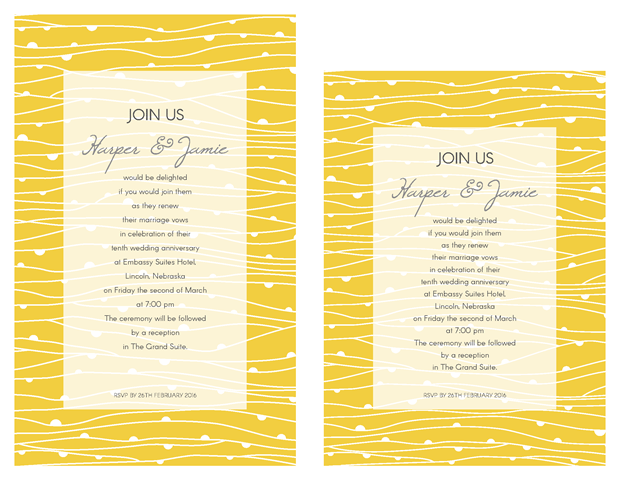 Invitation - Contemporary Yellow Lines Vow Renewal Invitation Suite