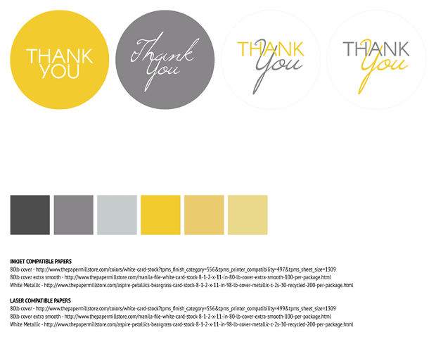 Favor Labels - Contemporary Yellow and Gray Theme