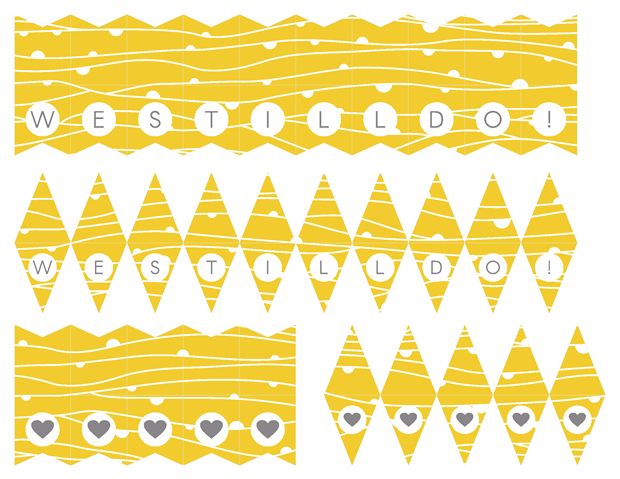 Mini Cake Banners - Contemporary Yellow and Gray Theme