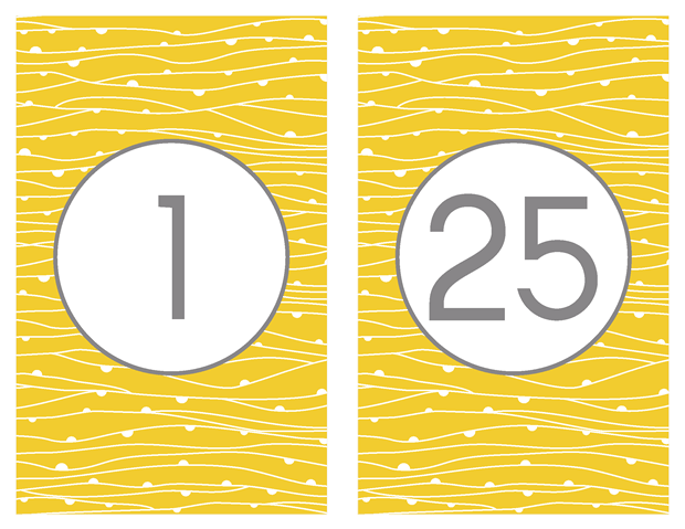 Table Numbers - Contemporary Yellow and Gray Theme
