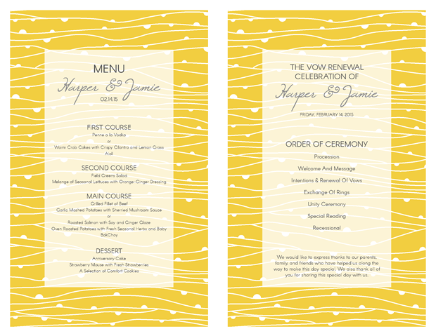 Wedding Vow Renewal Invitation Wording Samples: Yellow Waves And Gray Theme