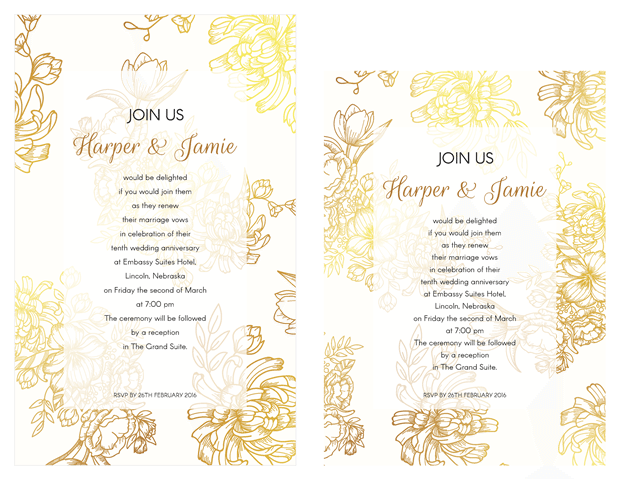 Invitation - Gold Floral Vow Renewal Invitation Suite