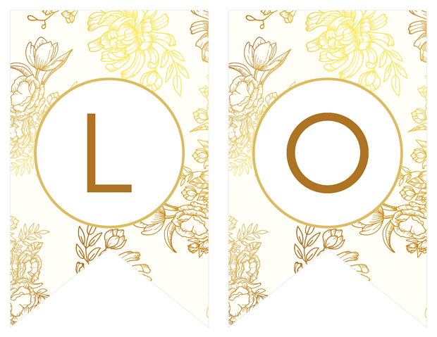 Banners -Gold Floral