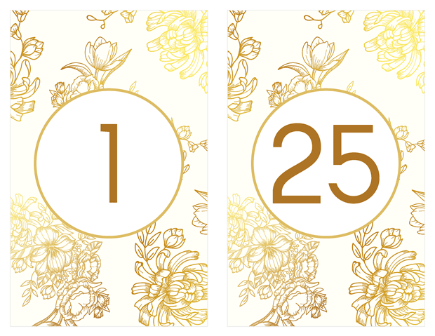 Table Numbers - Gold Floral Vow Renewal Invitation Suite
