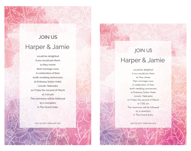 Pink and Purple Watercolor Sketch Vow Renewal Invitation Suite
