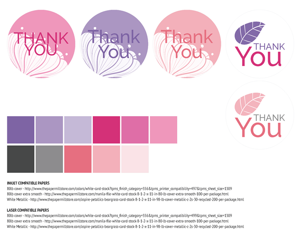 Favor Labels - Pink and Purple Watercolor