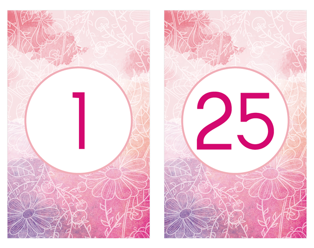 Table Numbers - Pink and Purple Watercolor