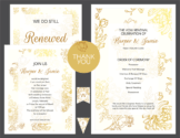 Preview of Gold Floral Vow Renewal Invitation Suite