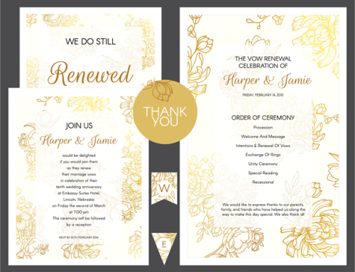 Gold Floral Vow Renewal Invitation