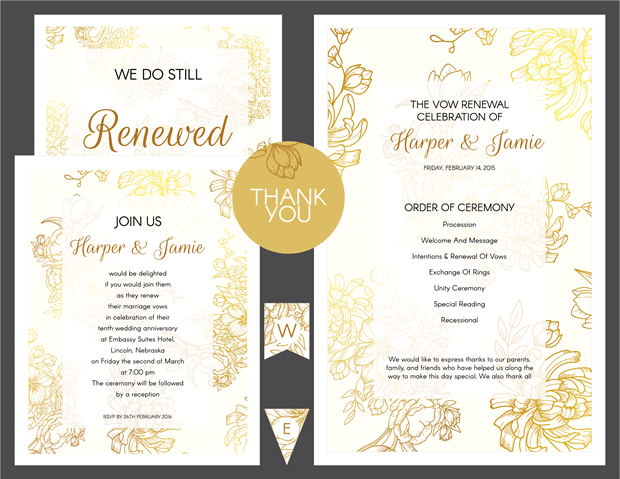 Free Customizable Printables. Preview Of Gold Floral Vow Renewal Invitation  Suite